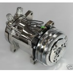 CHEVY FORD HOT ROD CHROME SANDEN 508 AIR COMPRESSOR FULLY CERTIFIED-VEE BELT